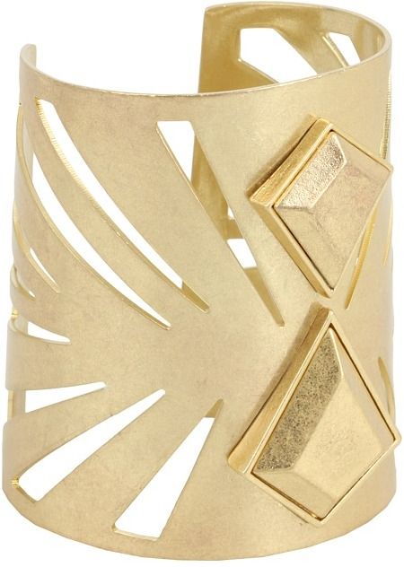 BCBGeneration - Beach Bum Gold Facet Metal Cuff (Antique Gold) - Jewelry