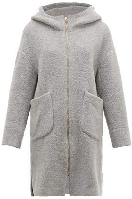 Herno Hooded Wool Blend Boucle Coat - Womens - Light Grey