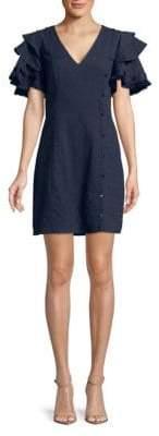 Fringed Tiered Ruffle Sleeve Dress