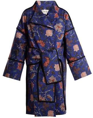 Diane von Furstenberg Canton Floral Print Tie Waist Cotton Blend Coat - Womens - Blue Print