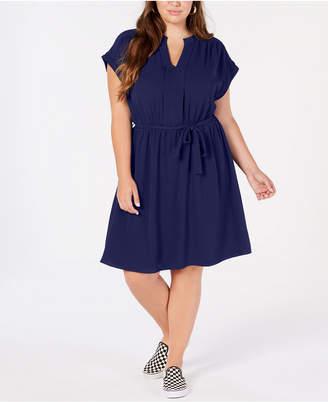 Monteau Trendy Plus Size Tie-Waist A-Line Dress