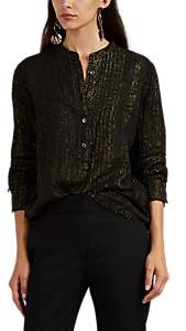 Raquel Allegra Women's Metallic Linen-Blend Henley Blouse - Gold