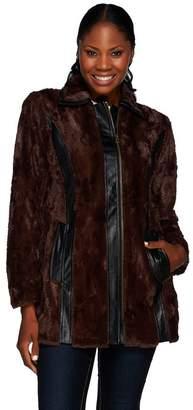 Styled By Joe Zee Styled by Joe Zee Faux Fur Coat with Faux Leather Details