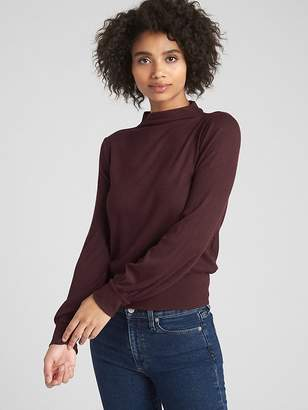 Gap Softspun Ribbed Blouson Sleeve Mockneck Top