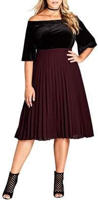 City Chic Sheer Pleat Skirt