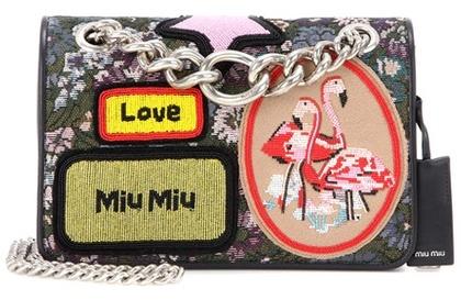 Miu MiuMiu Miu Jacquard bag with appliqué