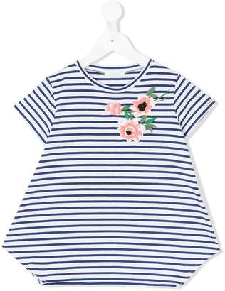 Liu Jo Kids floral-embroidered striped T-shirt