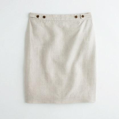 J.Crew Factory Factory button-tab skirt in lightweight linen