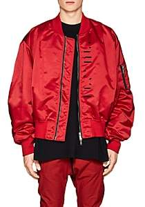 Taverniti So Ben Unravel Project BEN UNRAVEL PROJECT MEN'S MA-1 LOGO SATIN BOMBER JACKET