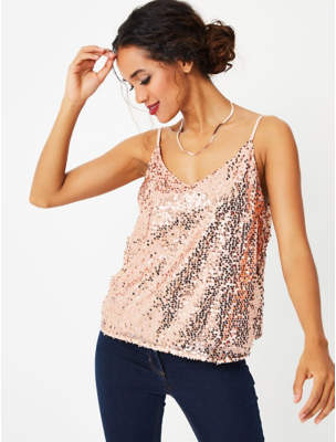 George Light Pink Sequin Camisole Top