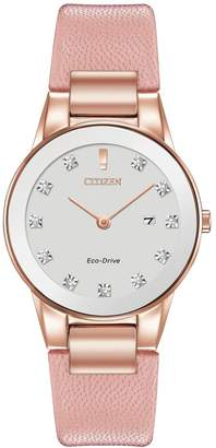 Citizen Eco-Drive Axiom Diamond Pink Leather Strap Ladies Watch