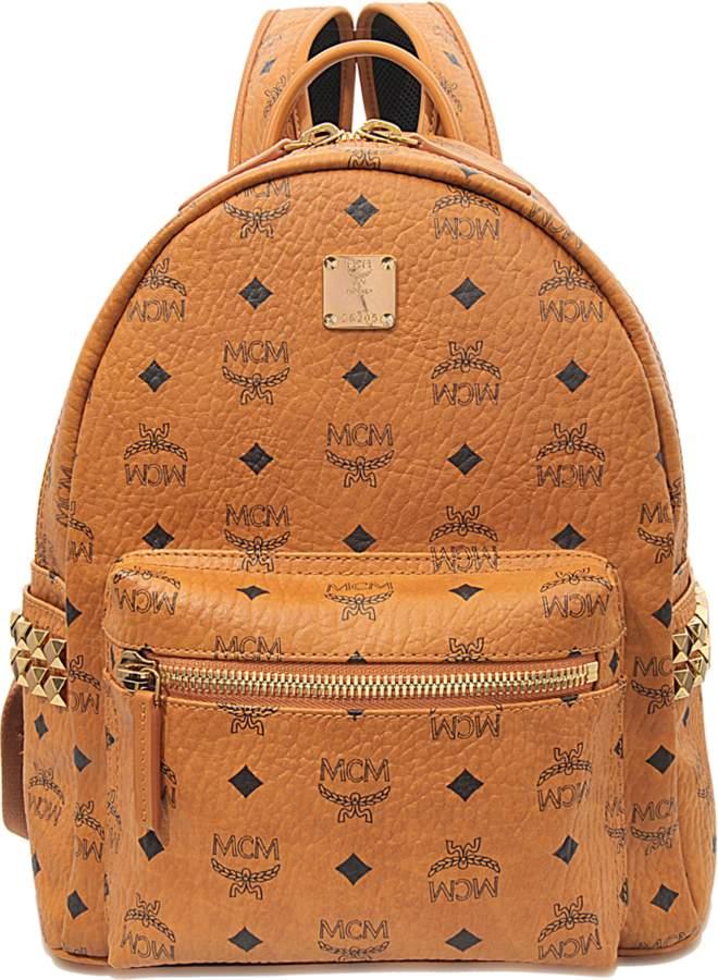 MCM Stark Side Studs Small Backpack in Cognac Visetos