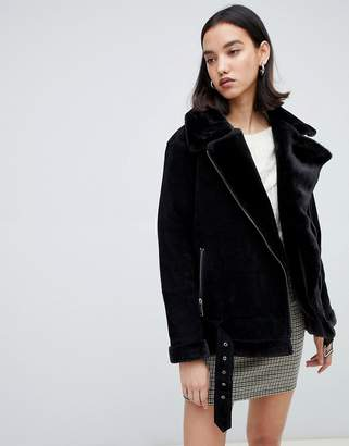 Selected shearling suede aviator coat