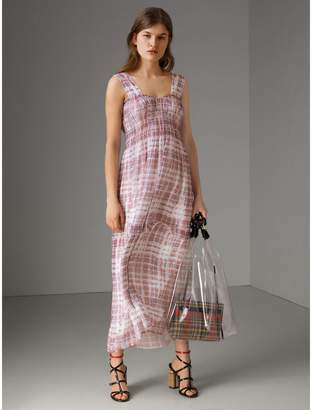 Burberry Gathered Scribble Check Silk Dress , Size: 10