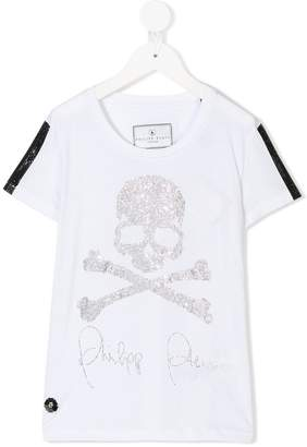 Philipp Plein Junior crystal studded logo T-shirt