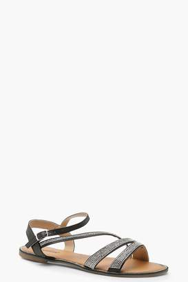 boohoo Asymmetric Embellished Sandals