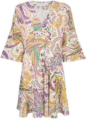 Etro mixed print fit-and-flare dress