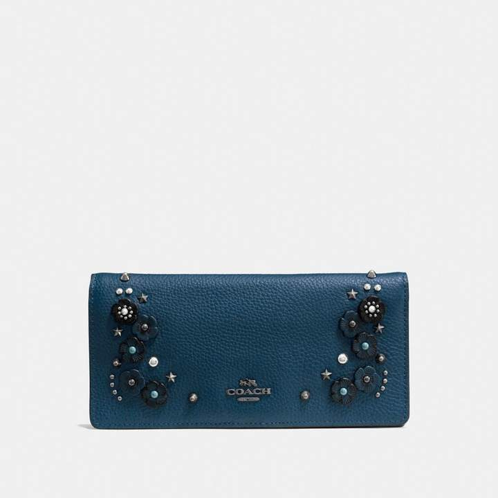 Coach Slim Wallet With Tea Rose Detail - MINERAL/DARK GUNMETAL - STYLE