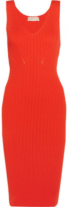 MICHAEL Michael Kors - Ribbed Stretch-knit Dress - Bright orange $195 thestylecure.com
