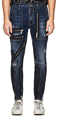 DSQUARED2 Men's Zip-Detailed Distressed Skinny Jeans