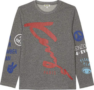 Kenzo Signature cotton long-sleeve t-shirt 4-16 years $58 thestylecure.com