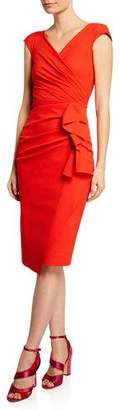 Chiara Boni Zelly V-Neck Bonded Cap-Sleeve Shirred Dress