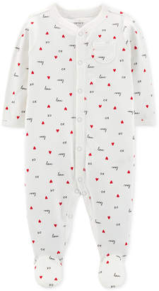 Carter's Baby Girls & Boys Heart Love Footed Cotton Pajamas