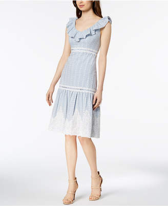 Jax Ruffle Lace-Applique Tiered Dress