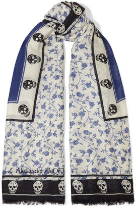 Alexander McQueen Printed Modal And Wool-blend Scarf - Blue