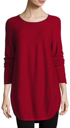 Eileen Fisher Round-Neck Long-Sleeve Top/Tunic $238 thestylecure.com