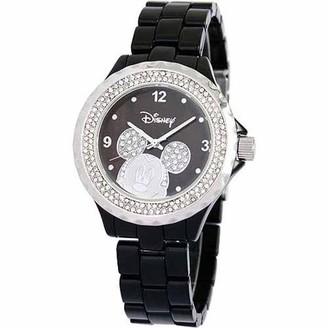 Disney Mickey Mouse Women's Enamel Watch, Black Bracelet