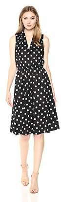 Wild Meadow Women's Sleeveless Wrap Bodice Tea Length Polka Dots Dress M Black and White