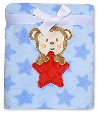 Baby Starters Adorable Monkey Star Plush Blanket, Blue