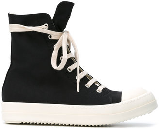 Rick Owens DRKSHDW lace-up hi-top sneakers $723 thestylecure.com