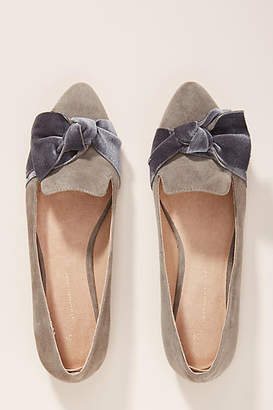 Anthropologie Velvet Bow Flats