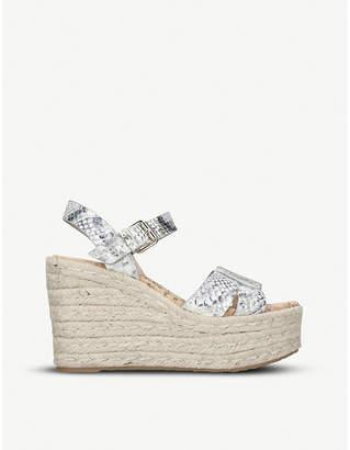 Sam Edelman Maura snake-embossed leather wedge sandals