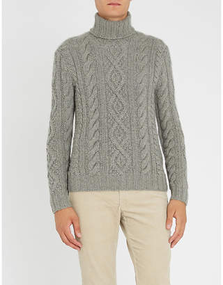 Ralph Lauren Purple Label Cable-knit cashmere-and-mohair blend jumper