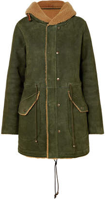 Mr & Mrs Italy Hooded Shearling Coat - Forest green