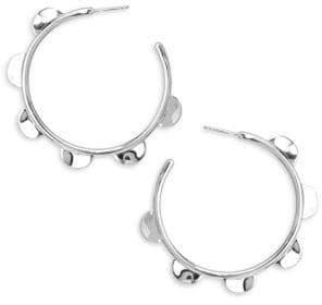 Ippolita Medium Sterling Silver Half Wavy Disc Hoop Earrings
