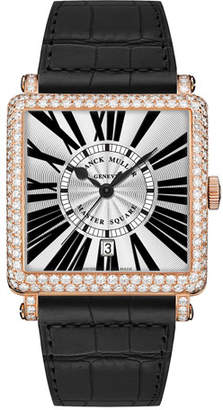 Franck Muller Master Square Watch with Diamonds & Black Alligator Strap