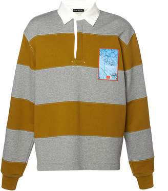 Acne Studios Foster Map Appliquéd Striped Cotton-Jersey Rugby Shirt