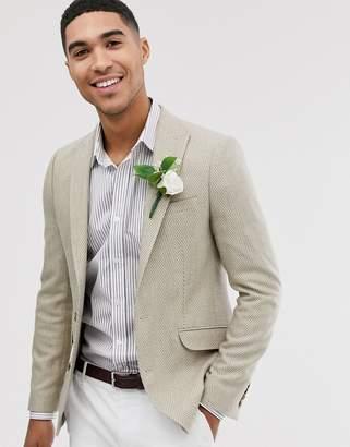 Asos Design DESIGN wedding skinny blazer with wool mix wide herringbone in stone