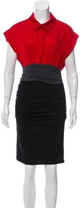 Paule Ka Ruched Colorblock Dress