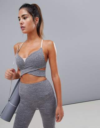 Asos 4505 gray marl yoga wrap around bra