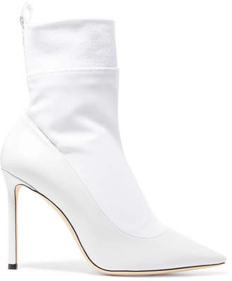 Jimmy Choo Brandon 100 Leather And Stretch-ponte Ankle Boots - White