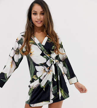 Asos DESIGN Petite bamboo print velvet mini wrap dress