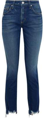 Amo Lover Distressed Mid-rise Slim-leg Jeans