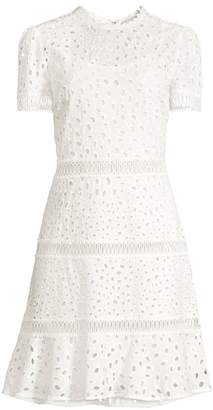 MICHAEL Michael Kors Short Sleeve Eyelet Flare Dress