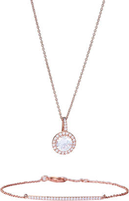 Crislu Rose Gold-Tone Round Pendant Necklace & Bracelet Set