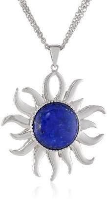 Lapis Sterling Simulated Lazuli Sunshine Pendant Necklace